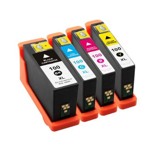 Merotoner - Juego de 4 cartuchos de tinta compatibles con Lexmark 100XL y 100 XL para Lexmark Pro 905, Prestige Pro 805, Prevail Pro 705, Pro 205, Pro 705
