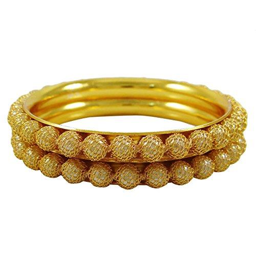 Banithani Indische Ethnische Bollywood 2 STUECK Armreifen Gold Ton Traditionellen Imitation Schmuck 2 * 6
