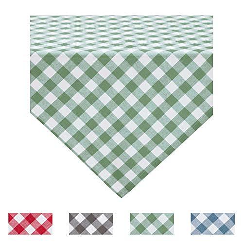 REDBEST Tischdecke, Mitteldecke Landhaus karo Nashville grün Größe 80x80 cm - strapazierstark, langlebig, glattes Gewebe, mit Kuvertsaum (weitere Farben, Größen)