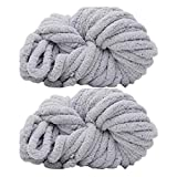 2 Pack of Soild Color Knitting Yarn Chunky Chenille Yarn for DIY Arm Hand Knitting Spin Yarn Blanket Hat Scarf Chunky Blanket Bag 500g