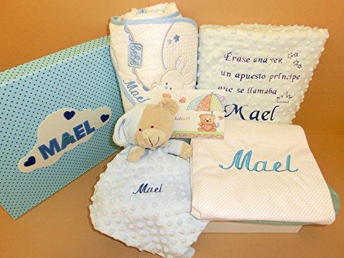 Set Regalo Bebé – Canastillas personalizadas para niño o niña, el regalo perfecto para recién nacido. Manta cuento, arrullo, doudou y capa de baño
