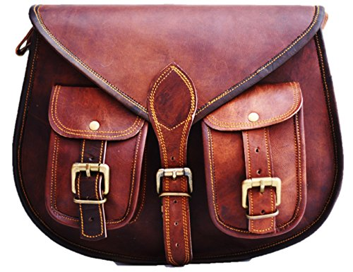 NOTE : Its a LARGE Bag. Size : 13 inches Tall and 10 inches Wide. DURABLE: Made of heavy duty leather ,strong buckles.We have used better leather and better reinforced sewing method .Earthy leather smell will fade away in few days after use Handmade ...