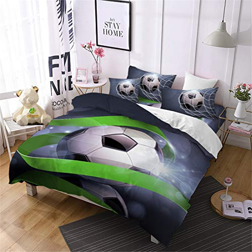 Oliven 3D Football Bedding Full Boys/Kids Quilt Cover Soccer Duvet Cover Set FIFA World Cup Gifts,3 Pcs(No Comforter,Flat Sheet)