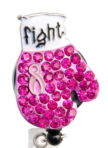 Sizzle City New Custom Bling Rhinestone Breast Cancer Awareness Pink Ribbon Boxing Glove Badge Reel Retractable ID Badge Holder || Black Backing