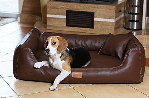 tierlando Lit orthopédique pour chien Maddox Ortho VISCO en similicuir Canapé pour Chien Panier pour chien gr. XL 120 cm brun