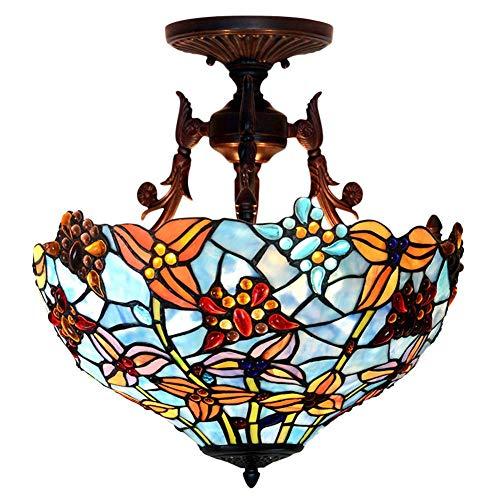 Plafoniera in stile Tiffany, Plafoniera 16 pollici, Farfalla pastorale europea/Lampadario in vetro colorato da incasso, E27, Max60W