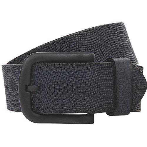 Lindenmann–Cuero cinturón/hombre cinturón, cinturón de piel plena flor con relieve, en 4colores, color negro/marrón/azul marino/gris