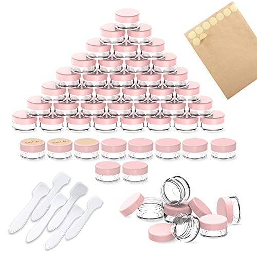 60 Piezas Contenedores de plástico, PAMIYO 5 ml Envase Cosmético Vacío Pequeño Plástico Puede Olla Cosmética Tarro Vacío Crema de Viaje con Tapa + 6 Mini espátulas y Dos Pegatinas Redondas(Rosa)