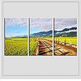 wcylj 3 Unidades Pintura de Pared Moderna Ruta de montaña Inicio Arte Decorativo Imagen Pintura al óleo sobre Lienzo Impresiones-30x60cm