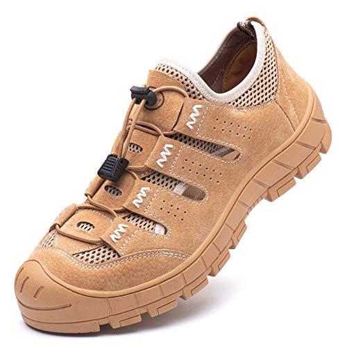 Meng Zapatos de Seguridad para Hombre Transpirable Ligeras con Puntera de Acero Zapatillas de Seguridad Trabajo, Calzado de Industrial y Deportiva (Color : Brown, Size : 38)