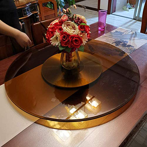 WQSQ Brown Rotating Tray Tempered Glass Lazy Susan Round Turntable With Aluminum Alloy Base, Dining Table Display Serving Plate 60cm Swivel Tray