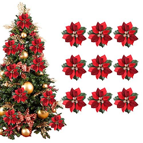 9 Pezzi Fiori Artificiali di Natale 15 cm Fiori di Poinsettia Artificiali Glitterati Addobbi per l'albero di Natale Fiori finti di Natale Decorazione della festa di nozze per Ghirlande Natale Rosso