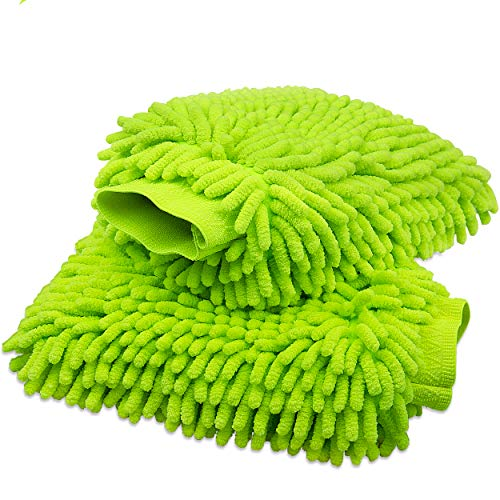 anngrowy Car Wash Mitt 2 Pack - Large Size Clean Tools Kits- Premium Chenille Microfiber Winter Waterproof Cleaning Mitts Sponge - Washing Glove with Lint Free & Scratch Free, Green