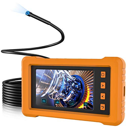 KZYEE KZ2000 Industrial Endoscope, 16.5FT 1080P HD Waterproof Borescope Inspection Camera 4.3inch Full-View IPS Display Semi-Rigid Snake Camera with LED Lights, TF Card and Silicone Case