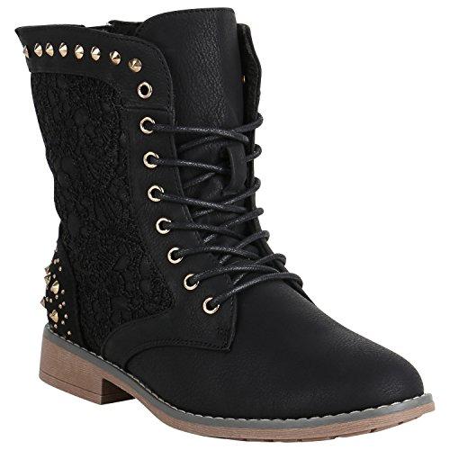 Damen Stiefeletten Worker Boots Spitze Stiefel Schuhe 149622 Schwarz Nieten 37 Flandell