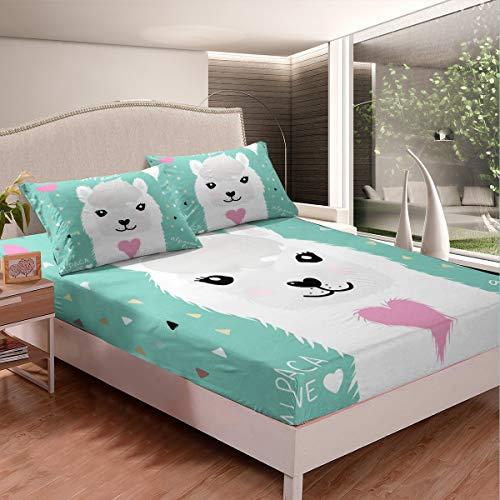 Lindo juego de cama con diseño de Llama de dibujos animados y alpaca para niños y niñas, para decoración de temática animal, juego de sábanas triangular, geometría de cama de 3 piezas de tamaño doble