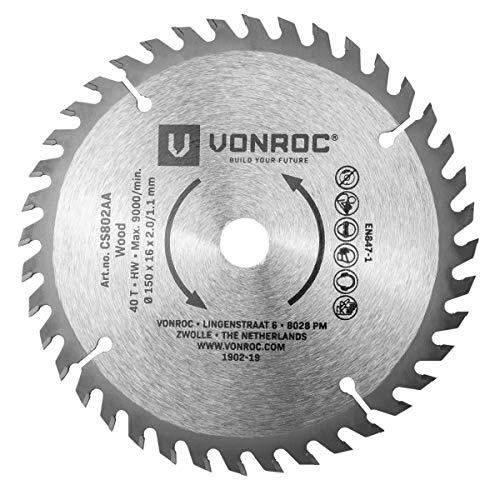 VONROC Hoja de sierra circular 150 x 16 x 2,0/1,1mm - 40 dientes - apta para madera - universal