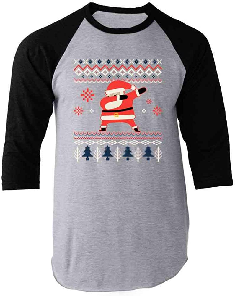 Pop Threads Santa Claus Dabbing Christmas Funny Raglan Baseball Tee Shirt
