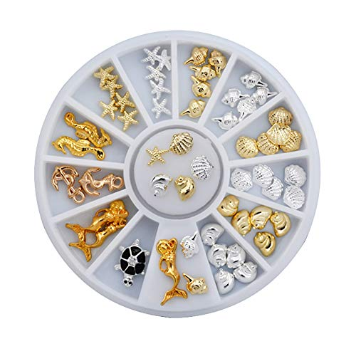 Demarkt - Decoración para uñas, aleación, diseño de caballito de mar, estrella de mar, conchas, sirena