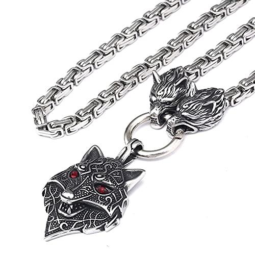 DFWY Viking Odin Celtic Wolf Head Colgante King Chain Necklace, Hombres de Acero Inoxidable Mitología Nórdica Fenrir Animal Amuleto, Auténtica Joyería Pagana Escandinava (Size : 60CM)
