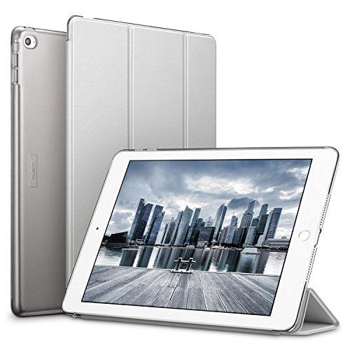ESR Capa Yippee para iPad Air 2, capa inteligente [couro sintético] Parte traseira magnética fosca translúcida com função de desligamento automático [peso leve] (cinza prateado)