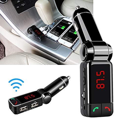 NAttnJf - Reproductor MP3 para Coche (Bluetooth, Manos Libres, emisor de Radio FM, Cargador Dual USB para iPhone XS MAX XR X 8/7/6/6 S Plus Samsung Galaxy S5/S6/S7/S8/S9, Nota 9 8 GPS)