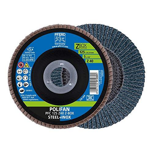 PFERD Polifan-Z-BOX – 10 discos de láminas de 125 mm, Z40, orificio de 22,23 mm, 69300934, para un alto rendimiento y una larga vida útil sobre acero y acero inoxidable (INOX)