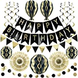 Reusable Party Decorations | Birthday Decoration Set | Birthday Banner spells Happy Birthday, Happy Easter, Happy Eid +more | Black and Gold Birthday Decorations for Men Women 18th 21st 30th 40th 50th