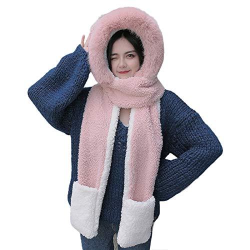 Women Winter Fuzzy Thicken Warm 3 in 1 Cartoon Ears Hooded Scarf Hat Gloves Set by Irjdksd