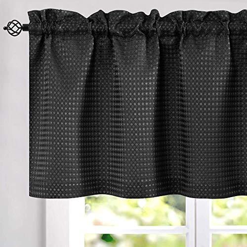 jinchan Waffle-Weave Valance for Kitchen Bathroom Waffle Woven Textured Window Treatment 1 Panel W60 x L18 Black