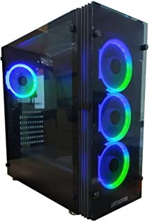 Tortox Shadow Aura Supported RGB Gaming Case with Front & Side Tempered Glass Panel with 4 RGB Fans PreInstalled