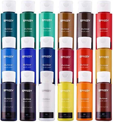 SPREEY Acrylic Paint Set of 18 Colors Large 18x59ml 2Oz for Paint Supplies Painting Canvas Wood product image