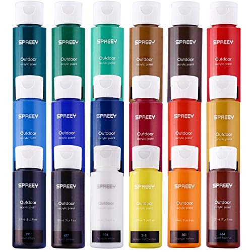 SPREEY Acrylic Paint Set of 18 Colors Large 18x59ml (2 oz) for Paint Supplies, Painting Canvas Wood Fabric, Nail Art, Gift, Rich Pigments Non Fading, Non Toxic Paints for Adults Kids Artists Beginners