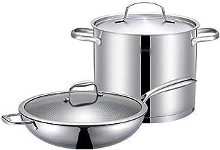 Juegos de ollas Batería de cocina 32cm de utensilios de cocina Wok antiadherente Olla de acero inoxidable 304 Sartén de cocción de la cocina Olla Pot