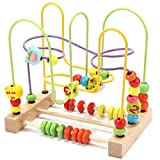 Wondertoys Bead Maze Toy for Toddlers Wooden Colorful Abacus Roller Coaster Educational Circle Toys for Babies Bead Maze Activity Cube Sensory Toys for Toddlers 1-3