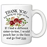 MyCozyCups Funny Mugs For Sister in Law - Thank You For Being My Sister-in-law 11 Ounce Novelty...