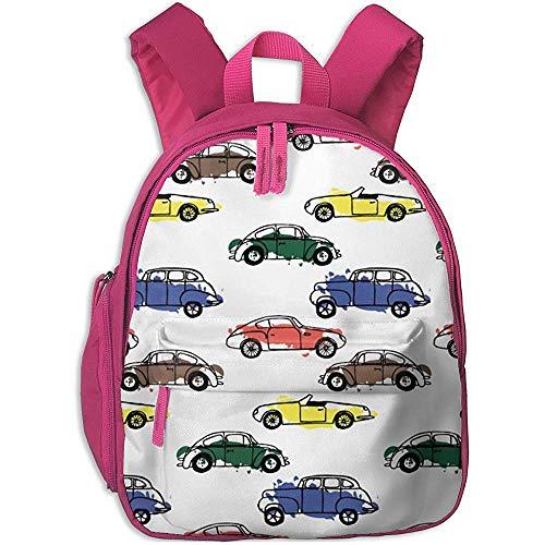 Niños/Niñas Bolsa De Viaje,Mochila para Niños,Jardín De Infantes Bolsa para La Escuela,Cartoon Cars Pattern Pink Kids Hombro Mochila Escolar,Mochila Ligera De Viaje