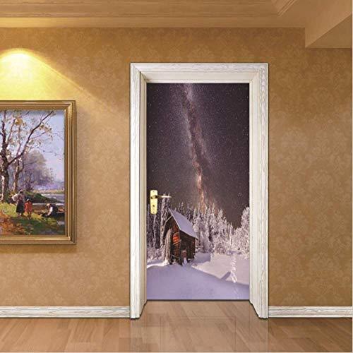 tytuoling deur Sticker sneeuw blokhut kerstmuur voor kinderen kamers verwijderbare zelfklevende behang creatief ontwerp 77X200CM