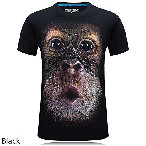 rqnpn5 2018 Sommer Herren Bekleidung O-Neck Kurzarm Tier T-Shirt AFFE/Lion 3D Digital gedrucktes T-Shirt Homme große Größe 5XL, A, XL