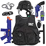 Kids S.W.A.T. Police Officer Costume Deluxe Dress Up Role Play Set with Helmet, Night Vision Monocular, Guns, Accessories (12 Pcs)