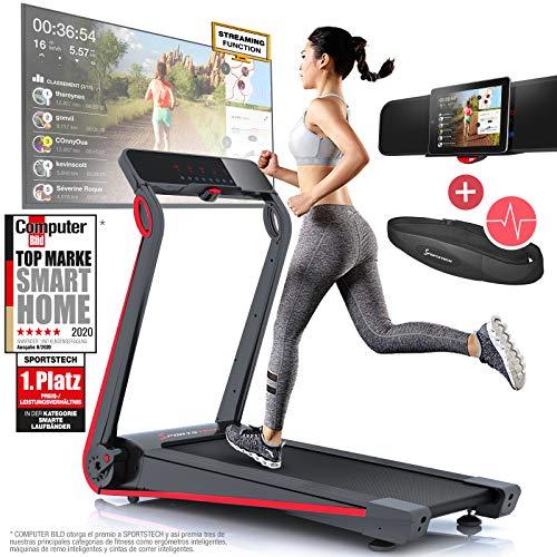 Sportstech Cinta de Correr F17, Consola futurista, 2.5 CV, 12 KM/H, Sistema...