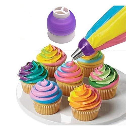 QiaoY - Bolsa de pastelería de 3 colores para fondant o fondant, herramientas de decoración de tartas, para cupcakes, fondant, galletas, puntas rusas, 6 unidades