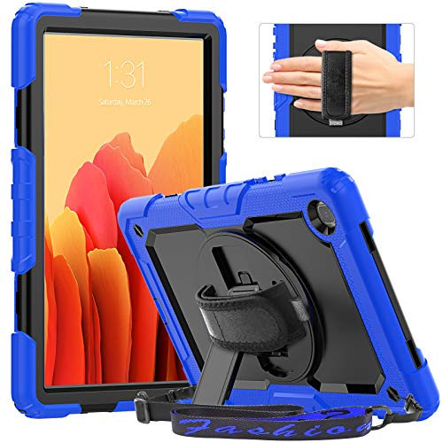 Timecity Case for Galaxy Tab A7 10.4 2020 (SM-T500/T505/T507), Rugged Shockproof Tablet Cover with Screen Protector, Rotating Stand, Hand/Shoulder Strap and Pencil Holder for Galaxy Tab A7, Dark Blue
