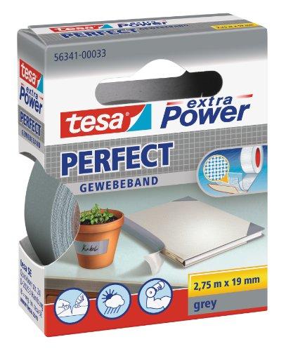 tesa extra Power Perfect Gewebeband - Gewebeverstärktes Ductape zum Basteln, Reparieren, Befestigen, Verstärken und Beschriften - Grau - 2,75 m x 19 mm