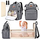YOOFOSS Diaper Bag Backpack, Baby Nappy Changing Bags Multifunction Travel Back Pack with Changing Pad & Stroller Straps, Large Capacity, Waterproof and Stylish (Grey)