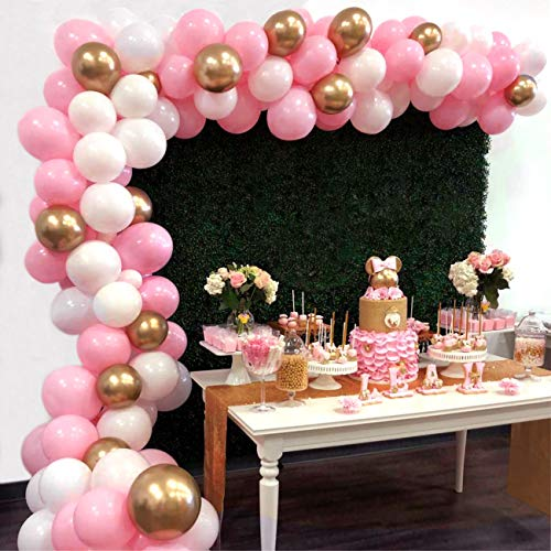 HUIBO Balloon Garland Arch Kit 16Ft Long 112pcs Pink White Gold Balloons Pack for Girl Birthday Baby Shower Bachelorette Party Centerpiece Backdrop Background Decorations