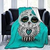 LodiSFOA Cute Teal Day of The Dead Sugar Skull Owl Fleece Blanket Throw Lightweight Blanket Super Soft Cozy Bed Warm Blanket for Living Room/Bedroom All Season