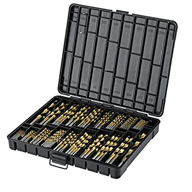 Titanium Drill Bit Set for Metal - 230pc Kit - Coated HSS - From 1/16  up to 1/2 Inch