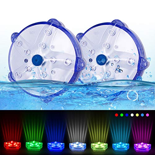 Floating Pool Lights, DeeprBlu Color Changing Waterproof Magnetic Pond Lights,Battery Powered Starfish Led Lights for Bedroom,Bathtub,Hot Tub,Shower,Party,Halloween,Christmas(2pcs)