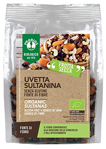 Probios Uvetta Sultanina Bio - Senza Glutine - Confezione da 6 x 250 g